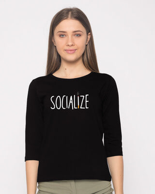 Shop Smoklize Round Neck 3/4th Sleeve T-Shirt-Front