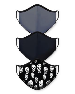 Shop Smugglerz Grey-Black-Skull Bundle Combo Mask-Front