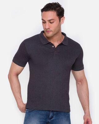 Shop Smugglerz inc. Men's ARMOR Polo T-Shirt Charcoal-Front