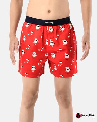 Shop Smugglerz Men's x'mas-bad santa-boxer-red-Front