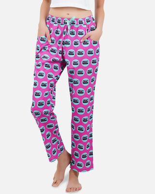 Shop Smugglerz Mixed Tape Women Pyjama Pink-Front