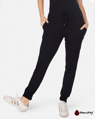 Shop Smugglerz Women's Tencel Black Jogger -Front