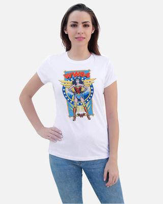 Shop Smugglerz Women's WW84 Standing Diana T Shirt White-Front