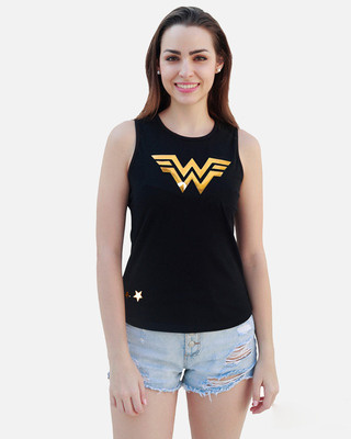 Shop Smugglerz Women's WW84 W 3D Gold Foil Tank Top-Front
