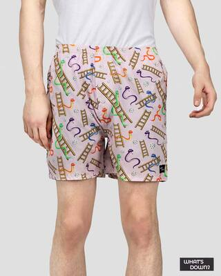Shop What's Down | Snake & Lads Boxer Shorts | Pink Cartoon Boxers-Front