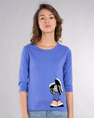 Shop Sneaker Girl Round Neck 3/4th Sleeve T-Shirt-Front