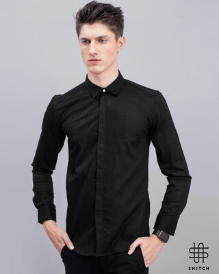 Shop Snitch Black Beaded Designer Shirt-Front