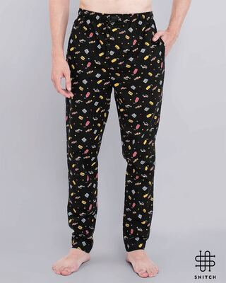 Shop Snitch Black Playful Pyjama-Front