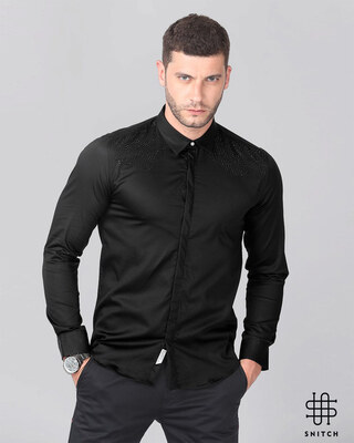 Shop Snitch Black Yoke Beaded Shirt-Front
