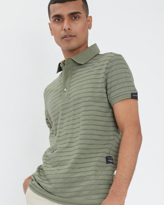 Shop Snitch Fern Green Stripe Knitted Polo T-Shirt-Front
