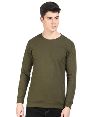 Shop Snitch Green Popcorn Full Sleeve Cotton T-Shirt-Front