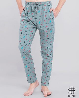 Shop Snitch Grey Playful Pyjama-Front