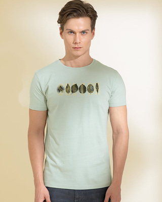 Shop Snitch Leaves Grey Graphic T-Shirt-Front