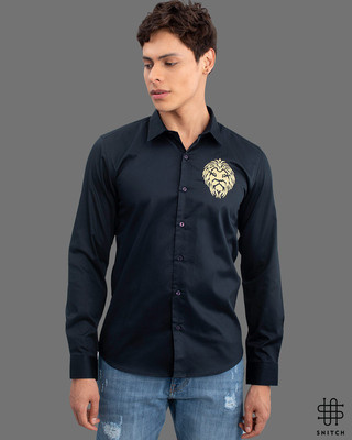 Shop Snitch Masai Lion Navy Full Sleeves Shirt-Front
