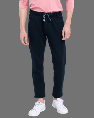 Shop Snitch Navy Amour Knitted Pants-Front