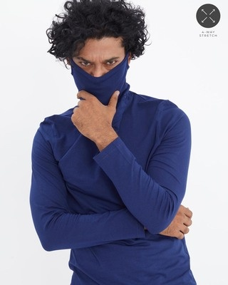 Shop Snitch Navy Full Sleeves T-Shirt with Face Cover-Front