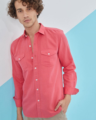 Shop Snitch Pink Double Pocket Cotlin Shirt-Front