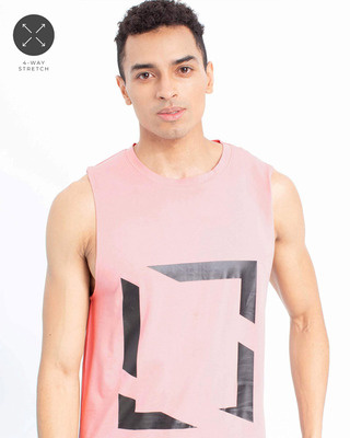 Shop Snitch Pink Printed Square Cut Sleeveless T-Shirt-Front