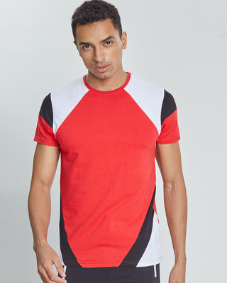 Shop Snitch Red Cut & Sew Arm 4 Way Stretch T-Shirt-Front