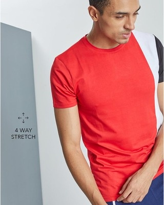 Shop Snitch Red Panel Cut & Sew 4 Way Stretch T-Shirt-Front