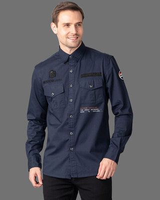 Shop Snitch Rookie Navy Cargo Shirt-Front