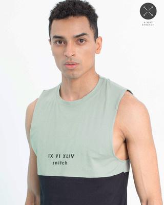 Shop Snitch Teal Green Black Cut & Sew Sleeveless T-Shirt-Front