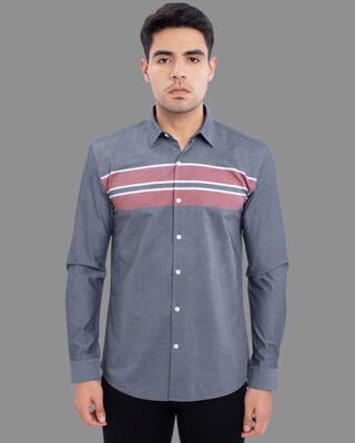 Shop Snitch Triad Grey Multi-Stripe Shirt-Front