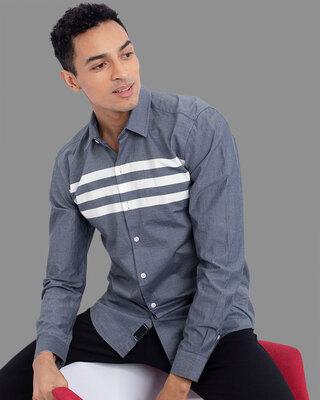Shop Snitch Triad Grey Stripe Shirt-Front