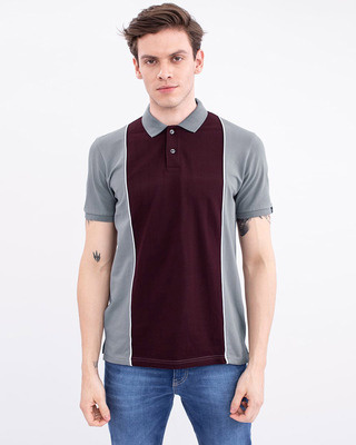 Shop Snitch Wine Cut & Sew Knitted Polo T-Shirt-Front