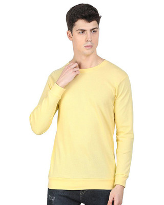 Shop Snitch Yellow Popcorn Full Sleeve Cotton T-Shirt-Front