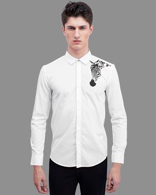 Shop Snitch Zebra White Printed Shirt-Front