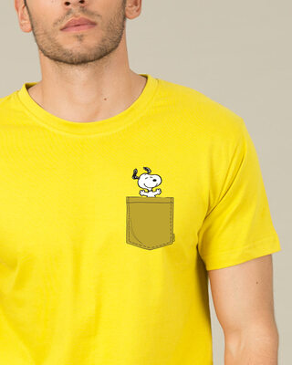 Shop Snoopy Pocket Half Sleeve T-Shirt-Front
