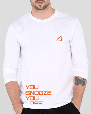Shop Snooze Lose Full Sleeve T-Shirt White -Front