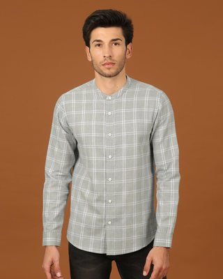 Shop Snow Grey Mandarin Collar Shirt-Front
