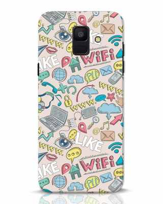 Shop Social Doodle Samsung Galaxy A6 2018 Mobile Cover-Front