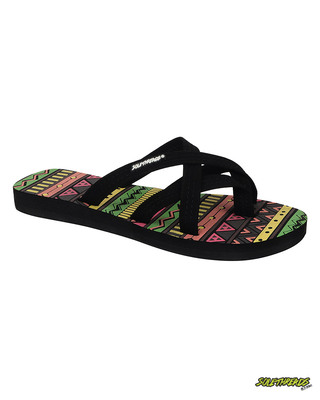 Shop Solethread Aztec Black Women's Flip-Flop-Front