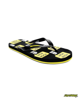 Shop Solethread Fooker Black & Yellow Men's Flip-Flop-Front