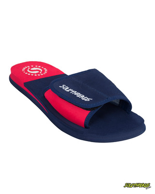 Shop Solethread Freeway Navy & Red Velcro Adjustable Strap Men's Sliders-Front