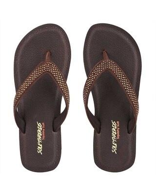 Shop Solethreads Squishy Vshape - Brown Flip Flops For Women-Front