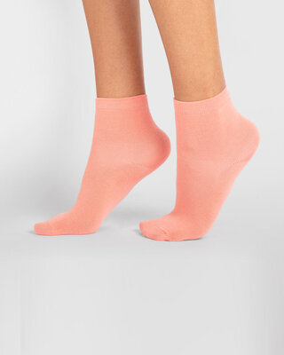 Shop Women's Solid Coral Ankle Length Socks-Front