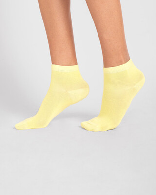 Shop Women's Solid Cream Yellow Ankle Length Socks-Front
