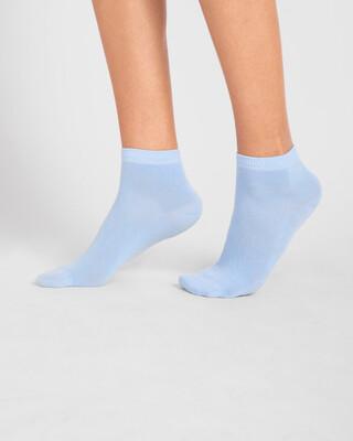 Shop Women's Solid Powder Blue Ankle Length Socks-Front