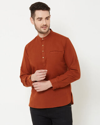 Shop Men Brown Solid Short Kurta-Front