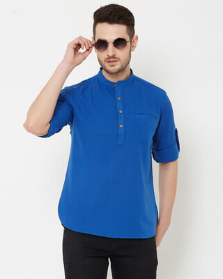 Shop Men Blue Solid Short Kurta-Front