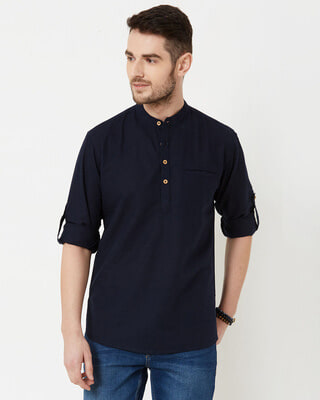 Shop Men Navy Solid Short Kurta-Front