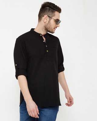 Shop Men Black Solid Short Kurta-Front
