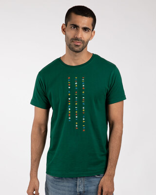 Shop Somewhere on Earth Half Sleeve T-Shirt Dark Forest Green-Front