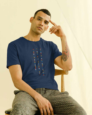 Shop Somewhere On Earth Half Sleeve T-Shirt Navy Blue-Front