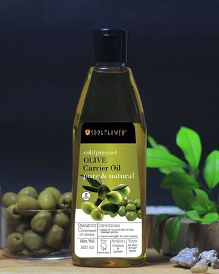 Shop Soulflower Olive Oil For Hair, Skin & Lips- Natural Makeup Primer, 100% Pure Hair Oil 225ml Set of 2-Front