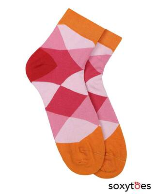 Shop Soxytoes Beguiling Argyle Ankle Socks-Front